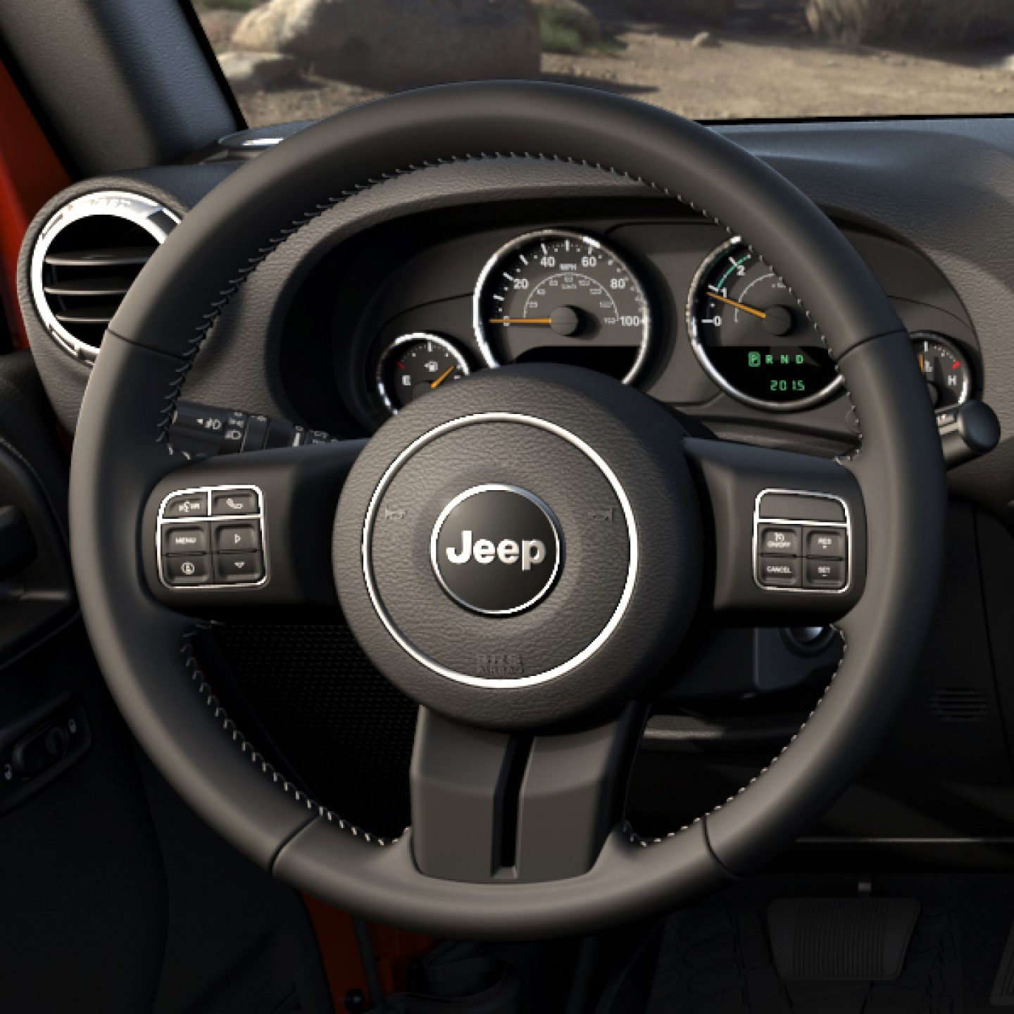 Beautiful 2017 Jeep Wrangler Interior Leather Wrapped Steering Wheel