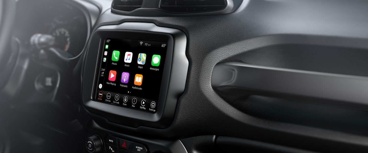 The available Uconnect touchscreen on the 2020 Jeep Renegade displaying app selections.